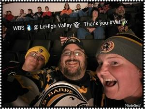 Joshua attended Lehigh Valley Phantoms vs. Wilkes-barre/scranton Penguins - AHL - Military Appreciation Night on Dec 6th 2017 via VetTix