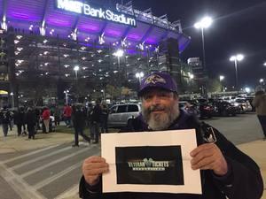 Domenic attended Baltimore Ravens vs. Houston Texans - NFL - Monday Night Football on Nov 27th 2017 via VetTix