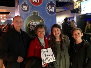 Click To Read More Feedback from Star 94.1 Presents Christmas With Kelly Clarkson and Bleachers Live - Standing Room Next to Stage