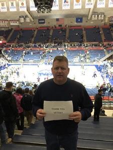 John attended UCONN Huskies vs. UCF - NCAA Men's Basketball on Jan 10th 2018 via VetTix