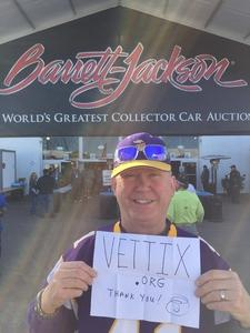 Ron S. In Mesa, AZ attended Barrett Jackson - the Worlds Greatest Collector Car Auctions - 1 Ticket Equals 2 - Sunday on Jan 14th 2018 via VetTix