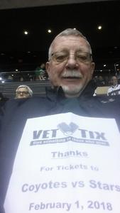 Ronald attended Arizona Coyotes vs. Dallas Stars - NHL on Feb 1st 2018 via VetTix