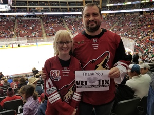 Kristopher attended Arizona Coyotes vs. Dallas Stars - NHL on Feb 1st 2018 via VetTix