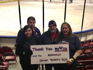 Jandy attended Greenville Swamp Rabbits vs. Atlanta Gladiators - ECHL on Feb 13th 2018 via VetTix