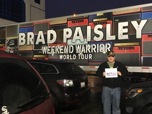 Steven attended Brad Paisley - Weekend Warrior World Tour With Dustin Lynch, Chase Bryant and Lindsay Ell on Feb 24th 2018 via VetTix