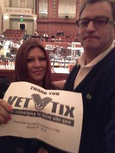 Michel attended Mahler's Fifth - Presented by the Nashville Symphony on Mar 8th 2018 via VetTix