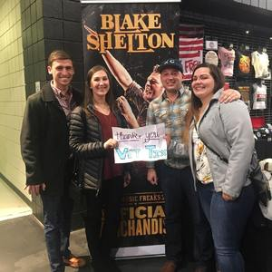 Lyndy attended Blake Shelton With Brett Eldredge, Carly Pearce and Trace Adkins on Mar 8th 2018 via VetTix