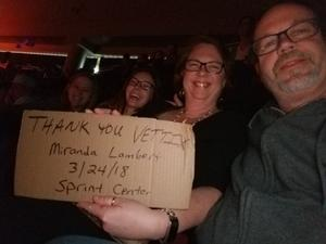 Trenton attended Miranda Lambert Livin Like Hippies Tour on Mar 17th 2018 via VetTix