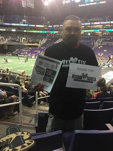 Sam attended Arizona Rattlers vs Nebraska Danger - IFL on Mar 24th 2018 via VetTix