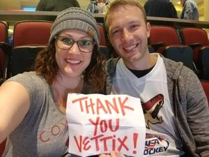 Jhared attended Arizona Coyotes vs. St. Louis Blues - NHL on Mar 31st 2018 via VetTix