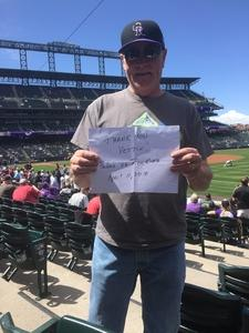 Milton attended Colorado Rockies vs. San Diego Padres - MLB on Apr 11th 2018 via VetTix