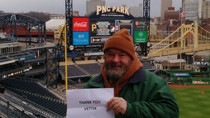 Frank attended Pittsburgh Pirates vs. Cincinnati Reds - MLB on Apr 6th 2018 via VetTix
