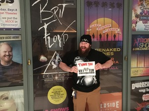 Jeremy attended Brit Floyd Eclipse World Tour 2018 '45 Years of the Dark Side of the Moon' on May 10th 2018 via VetTix