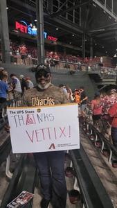 Perry attended Arizona Diamondbacks vs. Milwaukee Brewers- MLB on May 14th 2018 via VetTix