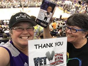 Kelly attended Phoenix Mercury vs. Los Angeles Sparks - WNBA on Aug 12th 2018 via VetTix