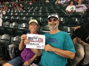 teri attended Arizona Diamondbacks vs. San Francisco Giants - MLB on Aug 4th 2018 via VetTix