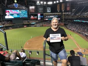 James attended Arizona Diamondbacks vs. Philadelphia Phillies - MLB on Aug 7th 2018 via VetTix