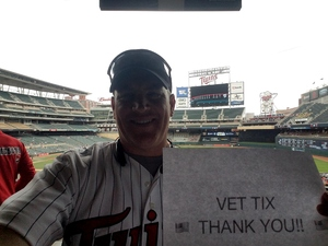 T.B. attended Minnesota Twins vs. Cleveland Indians - MLB on Aug 1st 2018 via VetTix
