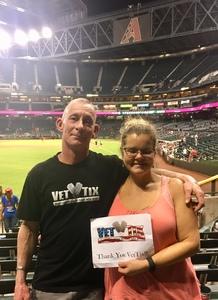 Jamie attended Arizona Diamondbacks vs. San Francisco Giants - MLB on Aug 3rd 2018 via VetTix