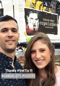 Trevor and Chloe attended Taylor Swift Reputation Tour on Sep 8th 2018 via VetTix