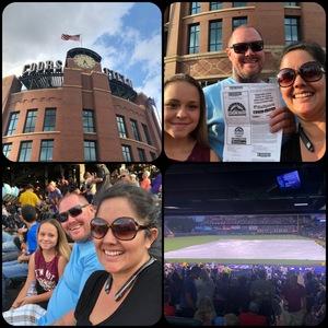 sonia attended Colorado Rockies vs. Pittsburgh Pirates - MLB on Aug 6th 2018 via VetTix