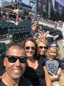Dan attended Colorado Rockies vs San Diego Padres - MLB on Aug 23rd 2018 via VetTix