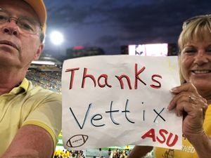 Edward attended Arizona State University Sun Devils vs. UTSA - NCAA Football on Sep 1st 2018 via VetTix
