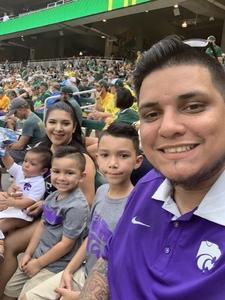 Edelmiro attended Baylor University Bears vs. Kansas State - NCAA Football on Oct 6th 2018 via VetTix