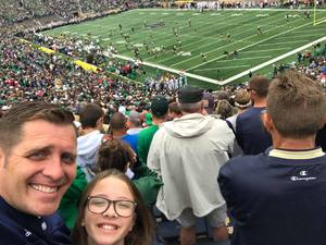 Dustin attended Notre Dame Fightin' Irish vs. Vs. Ball State Cardinals - NCAA Football on Sep 8th 2018 via VetTix