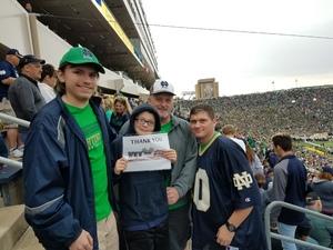 Carl attended Notre Dame Fightin' Irish vs. Vs. Ball State Cardinals - NCAA Football on Sep 8th 2018 via VetTix