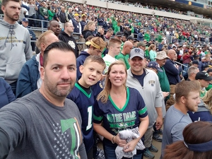 Nathan attended Notre Dame Fightin' Irish vs. Vs. Ball State Cardinals - NCAA Football on Sep 8th 2018 via VetTix