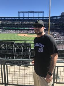 Nathaniel attended Colorado Rockies vs Arizona Diamondbacks - MLB on Sep 13th 2018 via VetTix