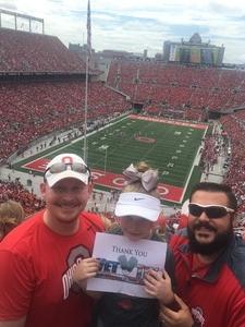 Aaron attended Ohio State Buckeyes vs. Oregon State - NCAA Football on Sep 1st 2018 via VetTix