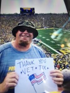 Tobin Styka attended University of Michigan Wolverines vs. SMU Mustangs - NCAA Football on Sep 15th 2018 via VetTix