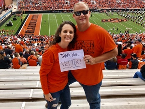 Brad attended Oklahoma State University Cowboys vs Iowa State - NCAA Football on Oct 6th 2018 via VetTix