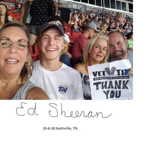 Stanley attended Ed Sheeran: 2018 North American Stadium Tour - Pop on Oct 6th 2018 via VetTix