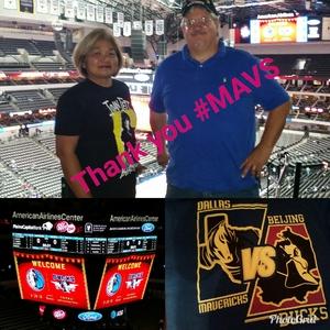 Vincent and Nancy attended Dallas Mavericks vs. Beijing Ducks - NBA on Sep 29th 2018 via VetTix