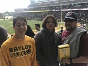 Carlos attended Baylor Bears vs. TCU - NCAA Football on Nov 17th 2018 via VetTix