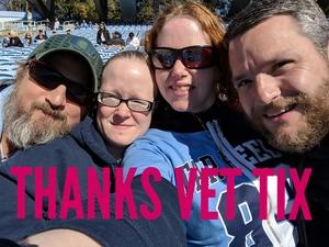 Mark attended North Carolina Tar Heels vs. Georgia Tech Yellow Jackets - NCAA Football - Time TBA on Nov 3rd 2018 via VetTix