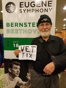 Arthur attended Bernstein and Beethoven - Presented by the Eugene Symphony on Oct 18th 2018 via VetTix