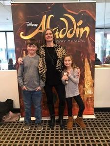 Joyce attended Disney's Aladdin - Des Moines Performing Arts - Matinee on Nov 29th 2018 via VetTix