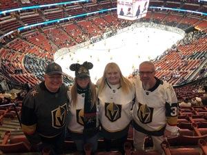 ROBERT attended Anaheim Ducks vs. Vegas Golden Knights - NHL - Antis Community Corner on Jan 4th 2019 via VetTix