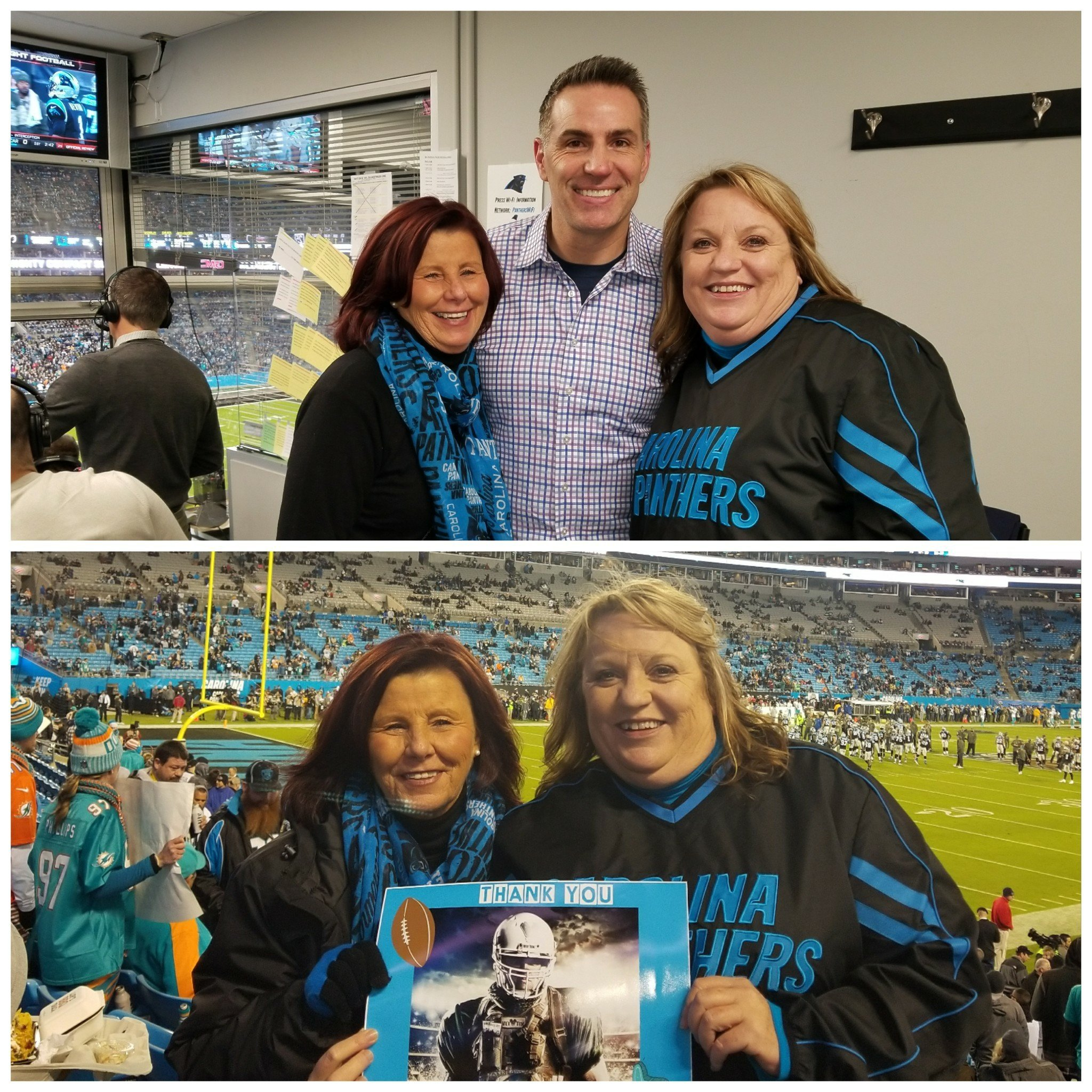 Thank you messages to veteran tickets foundation donors kelly attended carolina panthers vs miami dolphins nfl kurt warner meet and greet m4hsunfo