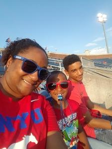 Monica attended Southern Methodist University Mustangs vs. Arkansas State - NCAA Football on Sep 23rd 2017 via VetTix
