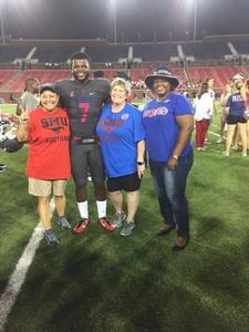 Marlon attended Southern Methodist University Mustangs vs. Arkansas State - NCAA Football on Sep 23rd 2017 via VetTix