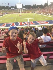 Robert attended Southern Methodist University Mustangs vs. Arkansas State - NCAA Football on Sep 23rd 2017 via VetTix