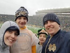 Jennings attended Notre Dame Fighting Irish vs. Wake Forest - NCAA Football - Military Appreciation Game on Nov 4th 2017 via VetTix