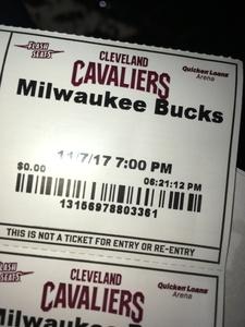 stephanie attended Cleveland Cavaliers vs. Milwaukee Bucks - NBA - Military Appreciation Night! on Nov 7th 2017 via VetTix