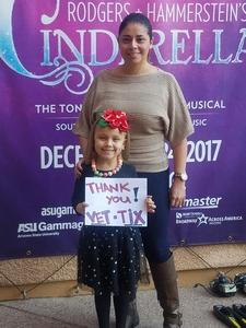 Xochitl attended Rodgers + Hammerstein's Cinderella - Christmas Eve Matinee on Dec 24th 2017 via VetTix