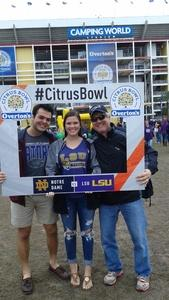 Neal attended Citrus Bowl Presented by Overton's - Notre Dame Fighting Irish vs. LSU Tigers - NCAA Football on Jan 1st 2018 via VetTix